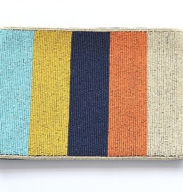 "multi color stripe beaded clutch 9"" x 6"""