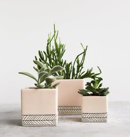 Benotti Square Planter - Herringbone - Large - SummerSweet