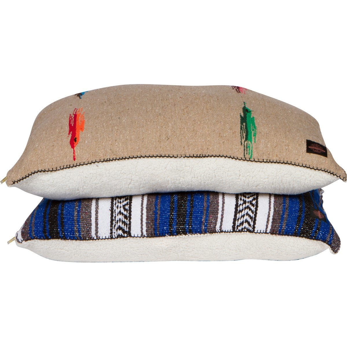 """Sherpa Backed Mexican Pillow with Brass Zipper - Large 28x41"""""""
