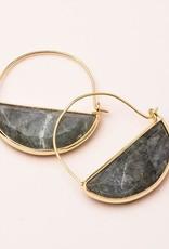 Stone Prism Hoop - Labradorite/Gold