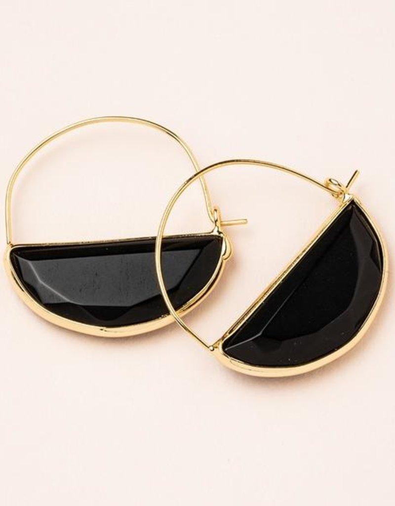 Stone Prism Hoop - Black Spinel/Gold