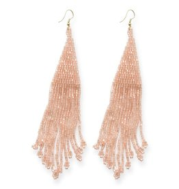 Ink and Alloy iridescent blush long fringe earrings 5""