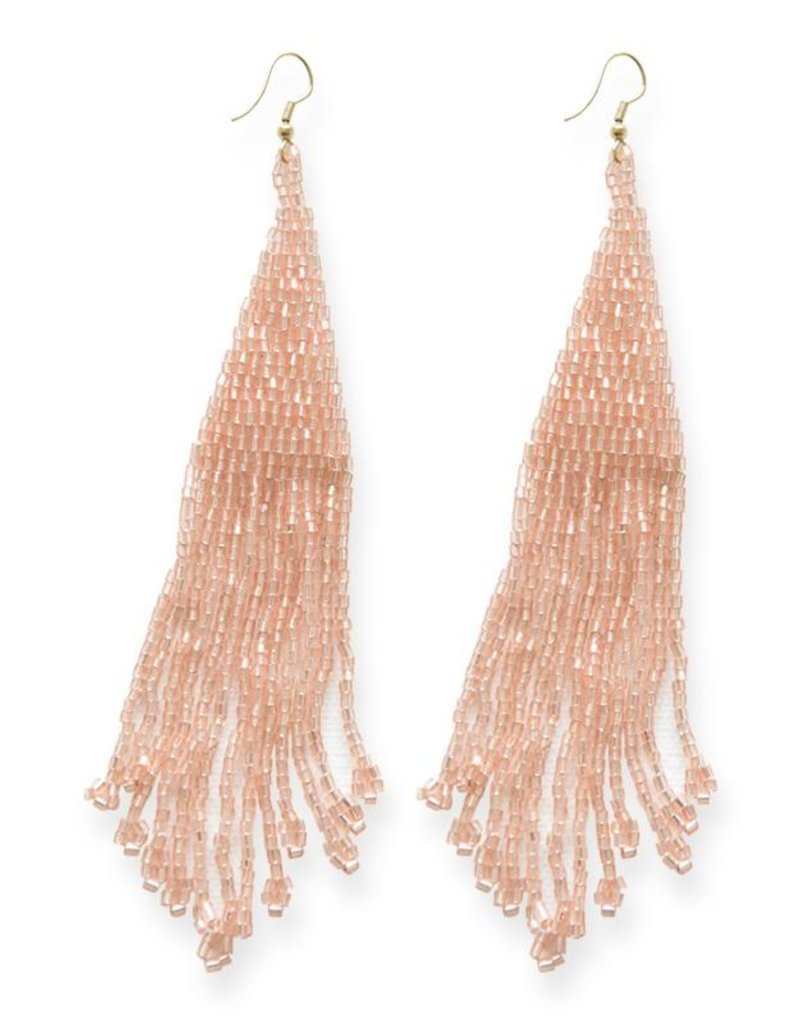 """Ink and Alloy iridescent blush long fringe earrings 5"""""""