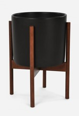Modernica Small Cylinder w. Wood Stand - Charcoal Black
