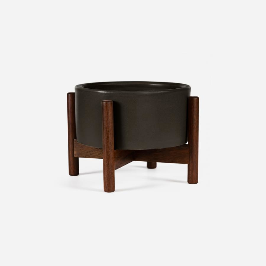 Modernica xxs Desk Top Cylinder w. Wood Stand Charcoal Black