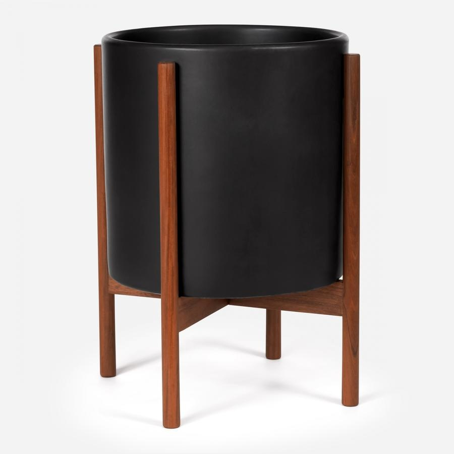 Modernica XL Cylinder w. Wood Stand - Charcoal Black