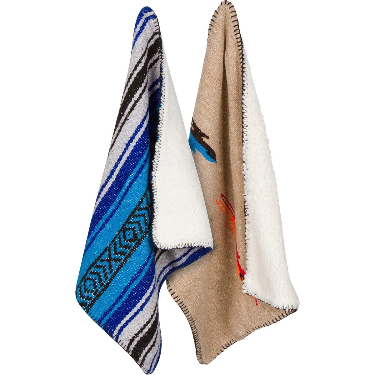 "Sherpa Backed Mexican Blanket 44x33""Small"