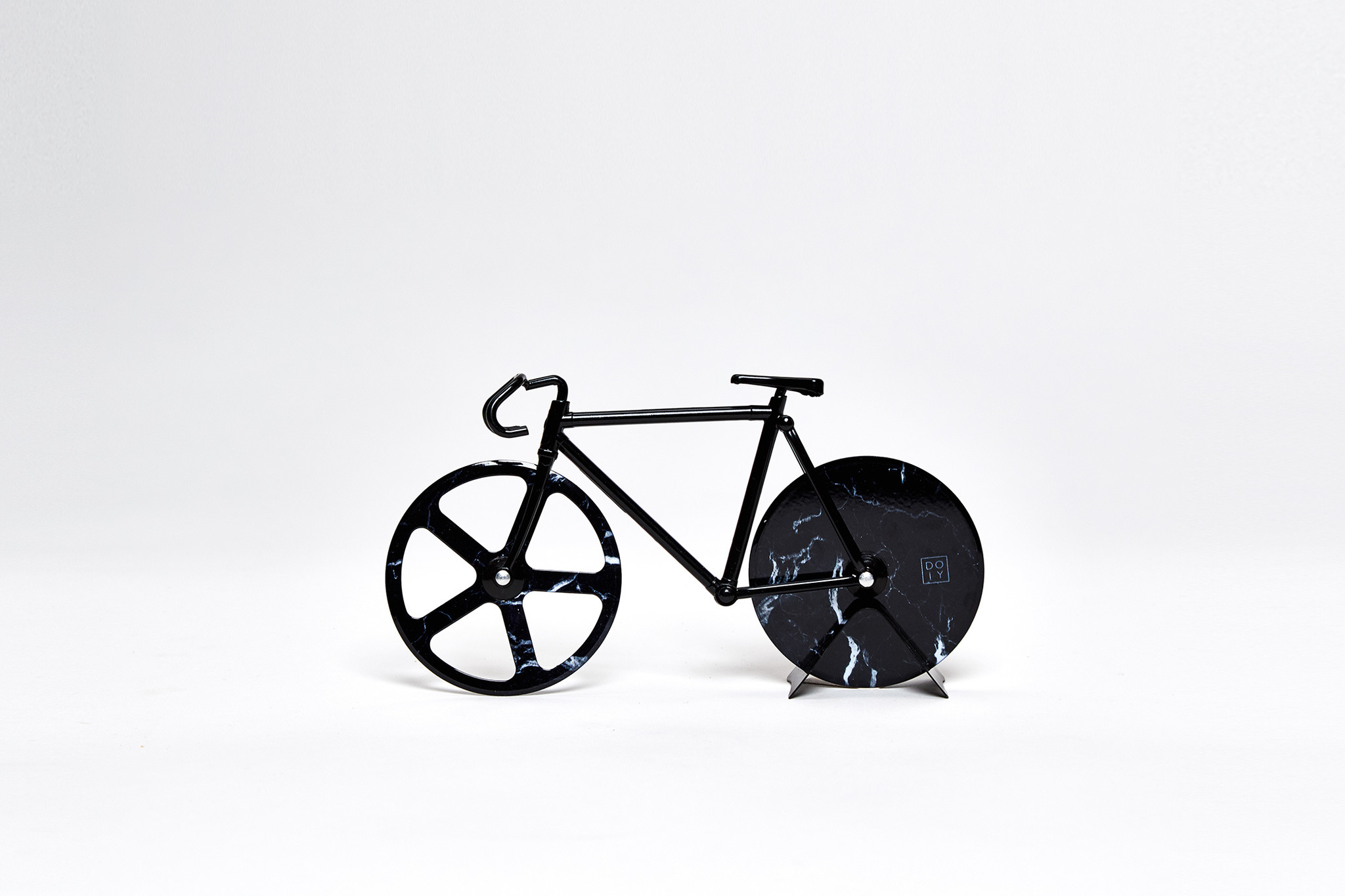 The Fixie Black Marble Pizza Cutter
