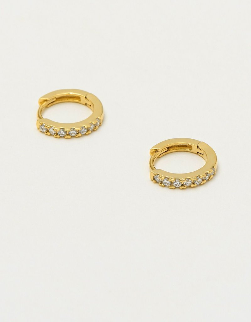 estella bartlett [EB1957] Pave Set Hoop Earrings Gold Plated, With White CZ