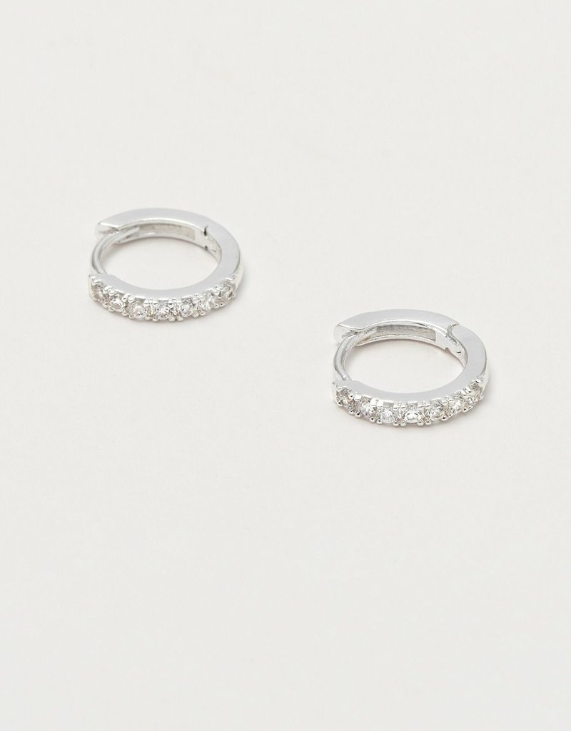 estella bartlett [EB1956] Pave Set Hoop Earrings Silver Plated, With White CZ