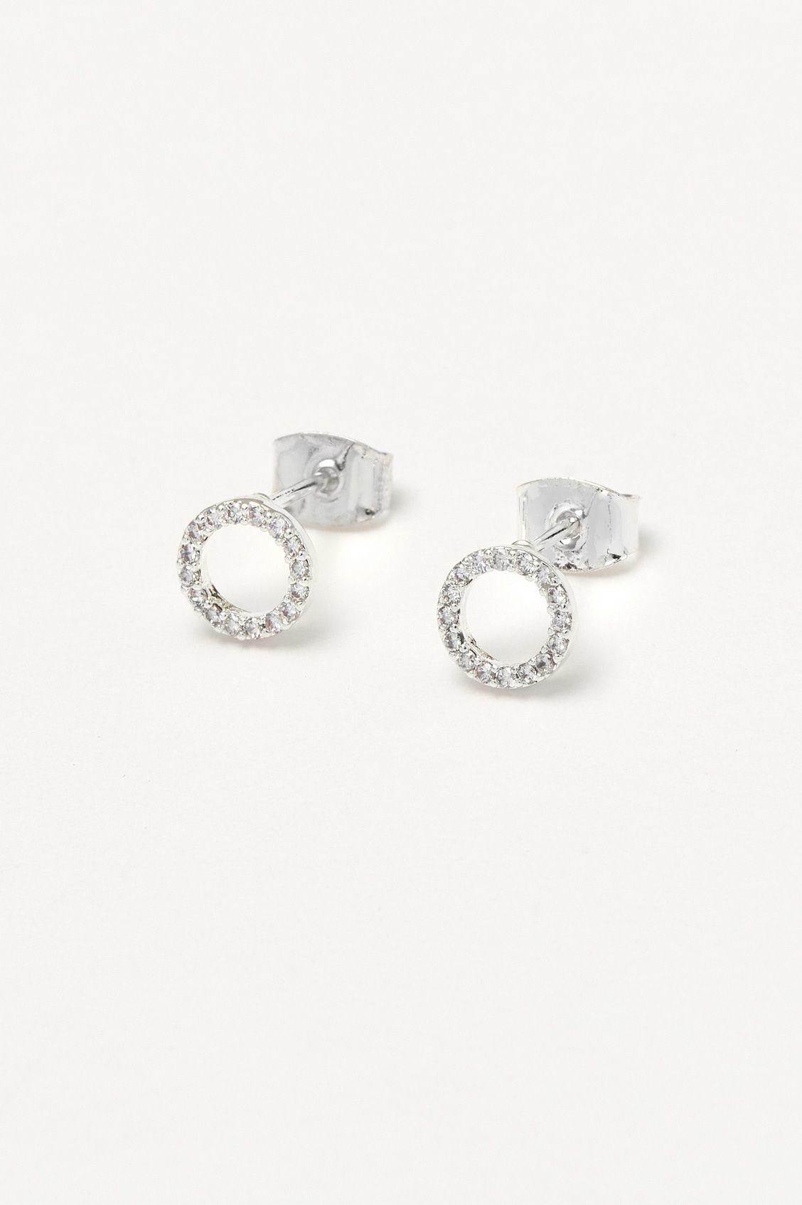 estella bartlett [EB3120] CZ Circle Earrings Silver Plated