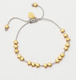 estella bartlett [EB1148C] Gold Stars So Bright Bracelet with Silver Metallic Cord