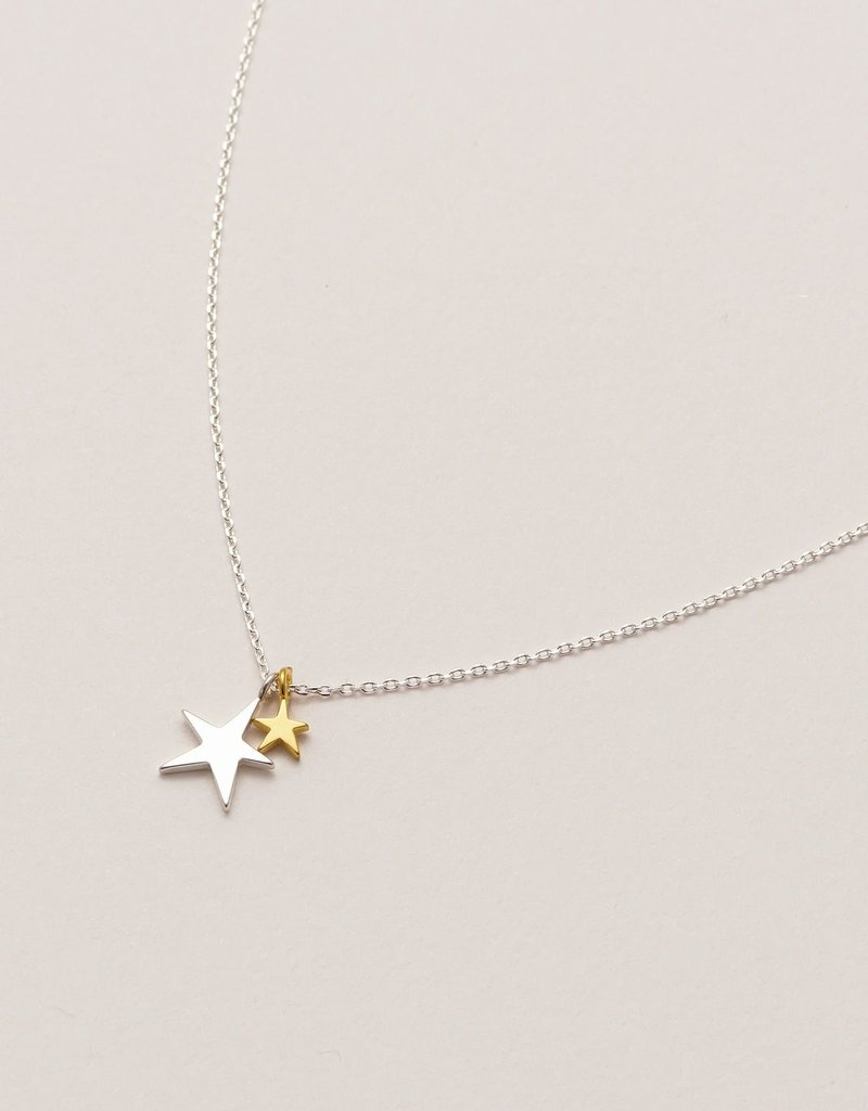 estella bartlett [EB2012C] Two Tone Double Star Necklace Silver Plated