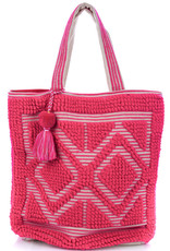 Double Diamond Tote Neon Pink