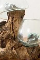 Glass Bowl Wood Double