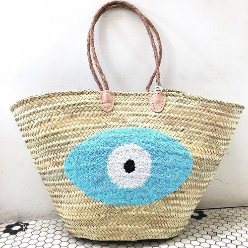 Sequin Basket Evil Eye Light Blue
