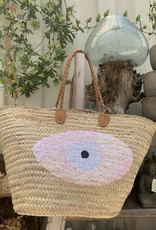 Sequin Basket Evil Eye Light Pink