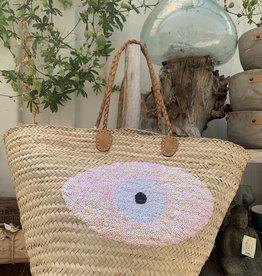 Sequin Basket Evil Eye Light Pink