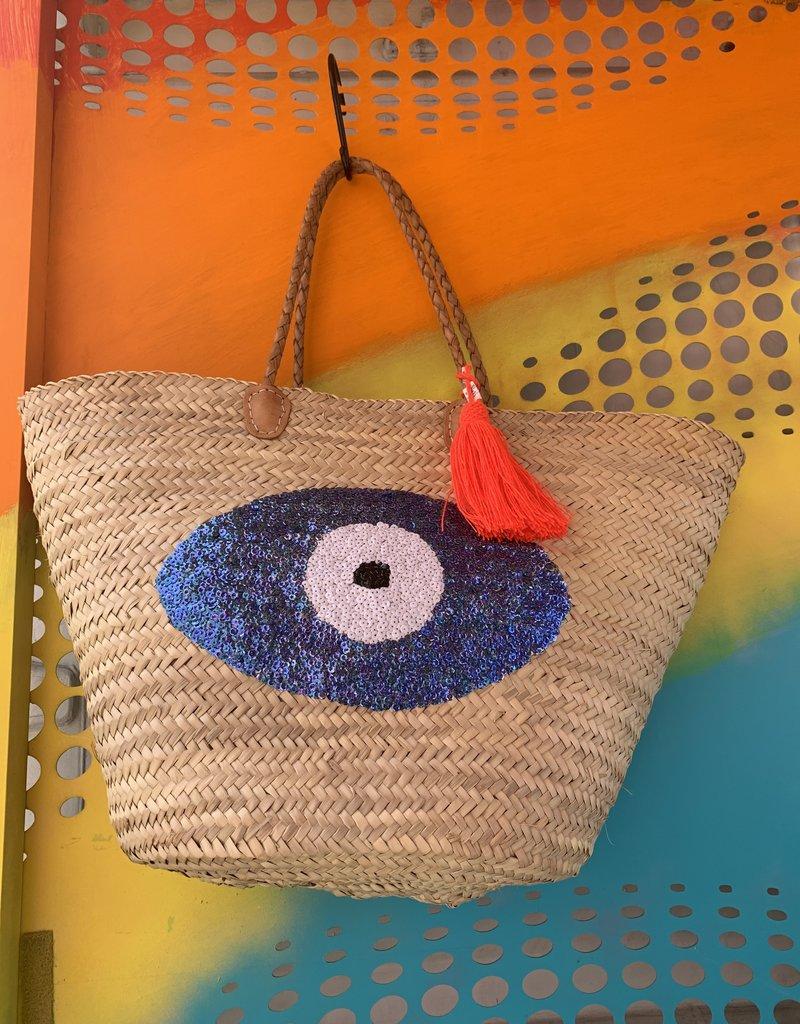 Sequin Basket Evil Eye Dark Blue