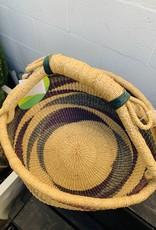 Diamond Pattern Bolga Basket,natural,Green Black
