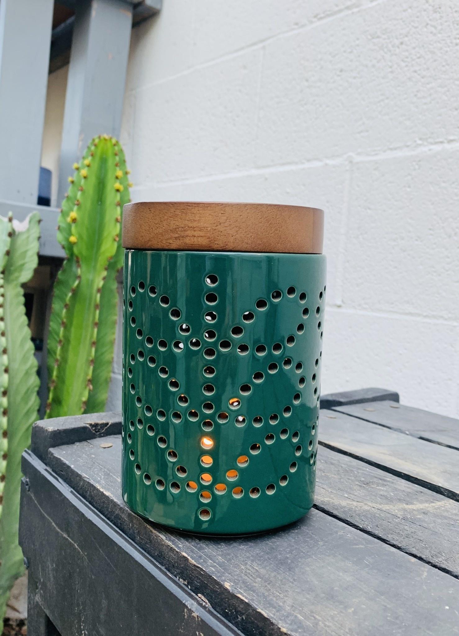 Small Ceramic Lantern Linear Stem Evergreen