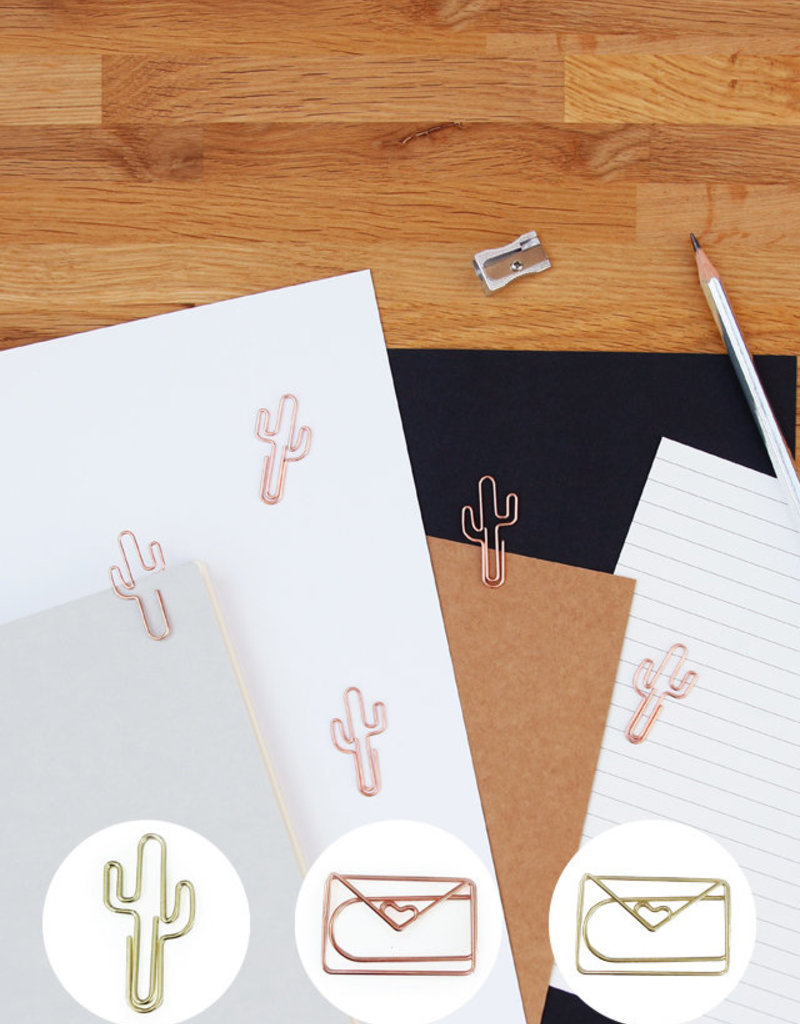 PAPER CLIPS CACTUS rose GOLD
