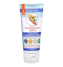 Badger Sunscreen Cream Unscented Sport SPF 35 87 ml