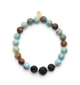 Oriwest Turquoise Jasper Lava Bead Aroma Bracelet