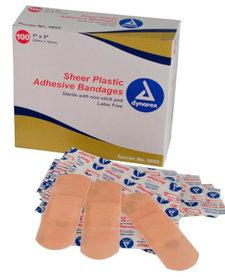 "Sheer Plastic Adhesive Bandage 1""x3"""