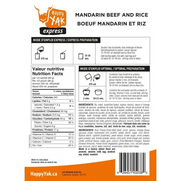 Happy Yak Freeze Dried Meals Mandarin Beef and Rice
