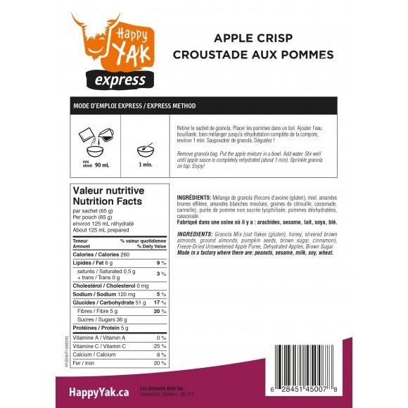Happy Yak Freeze Dried Meals Apple Crisp