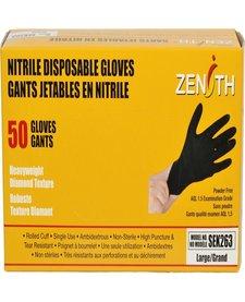 Heavyweight Diamond Texture Nitrile Gloves BLK