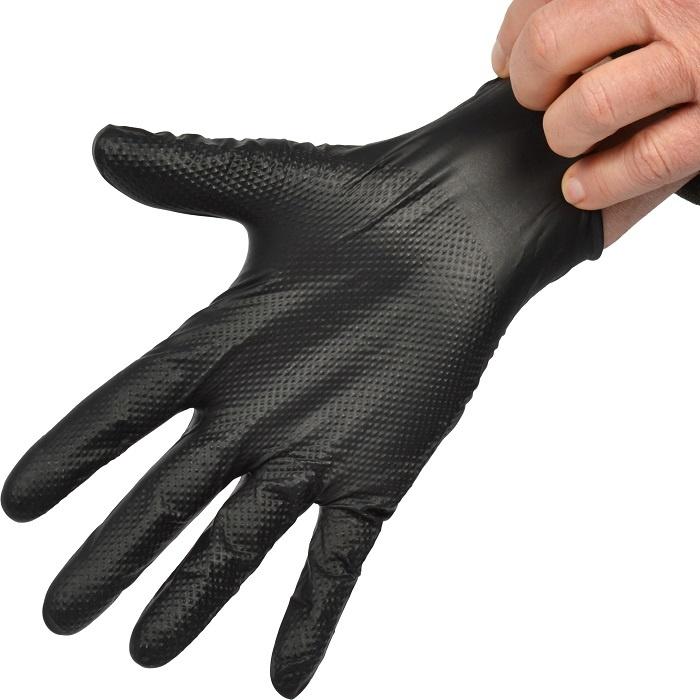 Zenith Heavyweight Diamond Texture Nitrile Gloves BLK