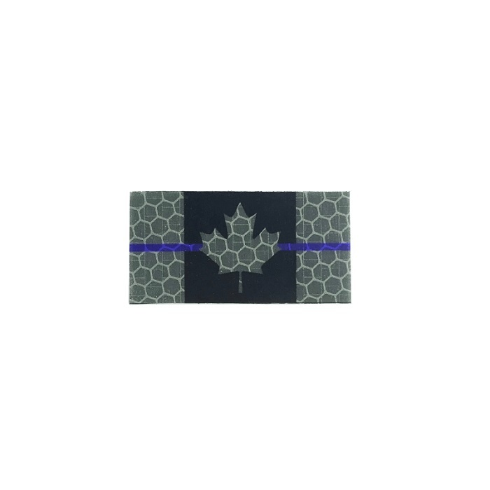 Patch Panel Micro Canada Flag - Black and Grey Thin Blue Line Flag - Hi Vis