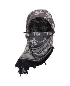 Arab Shemagh With Skull Print - Black