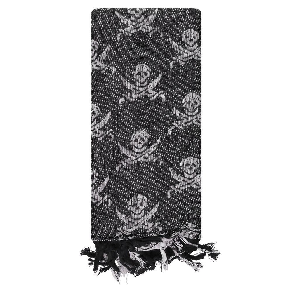 Arab Shemagh With Skull Print - Black
