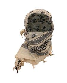 Arab Shemagh With Skull Print - Tan