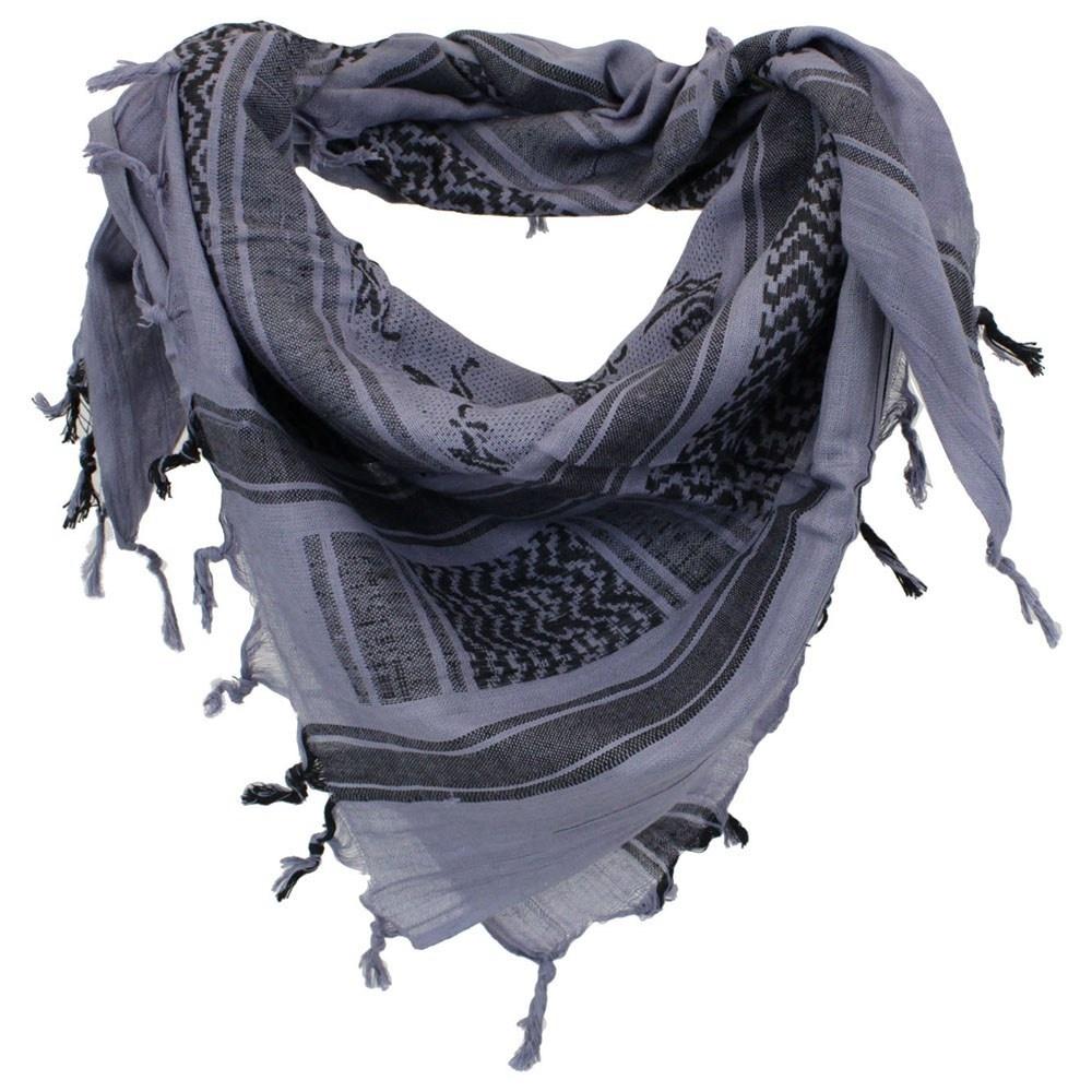 Arab Shemagh With Skull Print - Grey