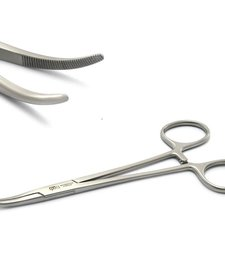 Forceps, Kelly, w/CTOMS logo, Brushed Silver
