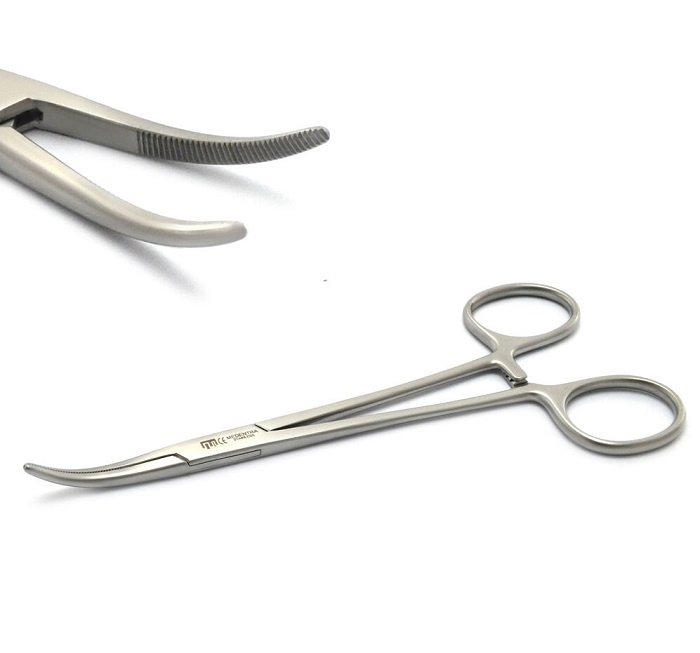 CTOMS Forceps, Kelly, w/CTOMS logo, Brushed Silver