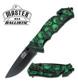 Master Cutlery Green Skulls MCMUA001GNSC