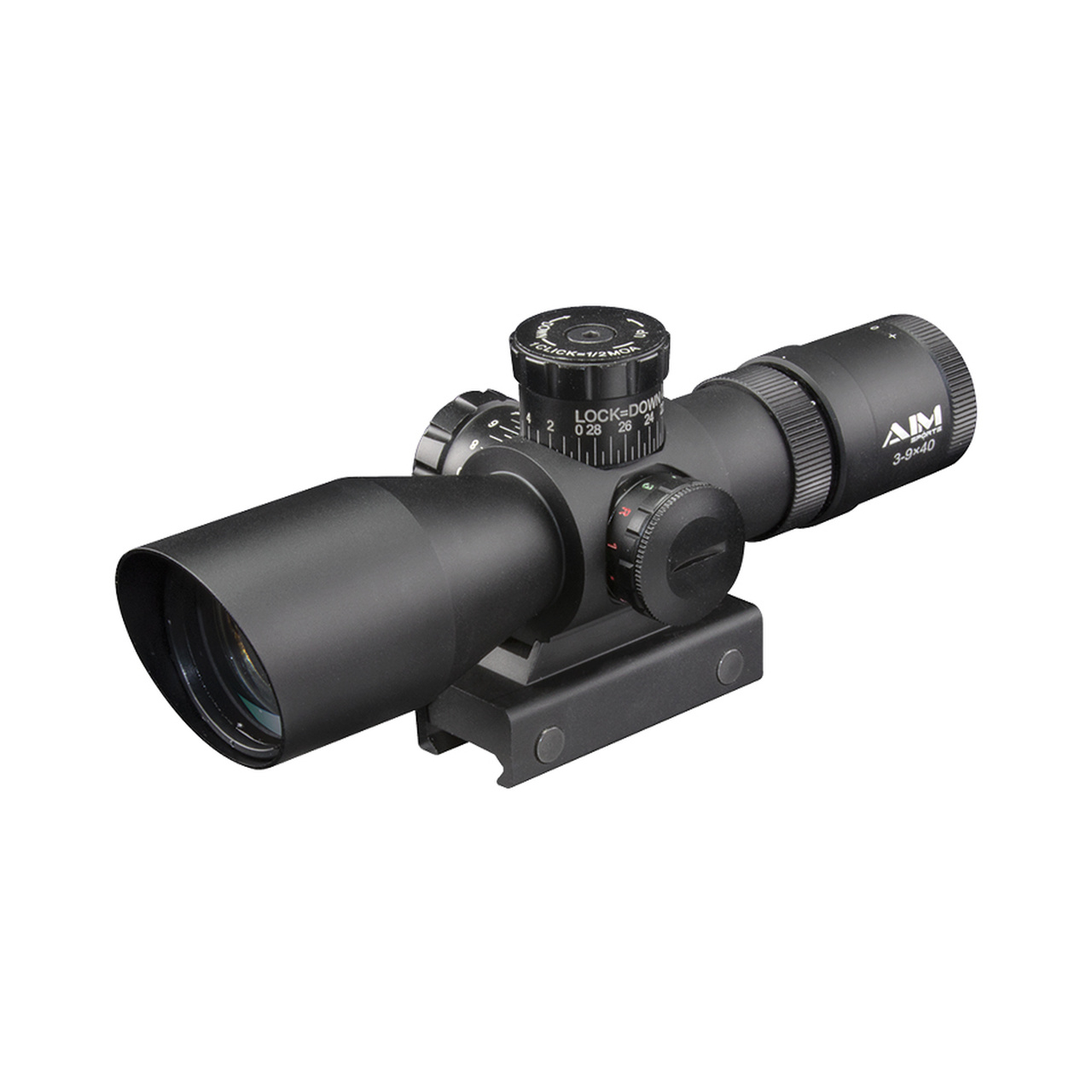 AIM Sports 3-9x40 Tri-Illuminated Reticle Scope