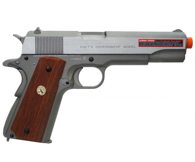 Cybergun Colt MK IV/Series 70 1911 Silver w/Wood Style Grip