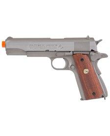Colt MK IV/Series 70 1911 Silver w/Wood Style Grip