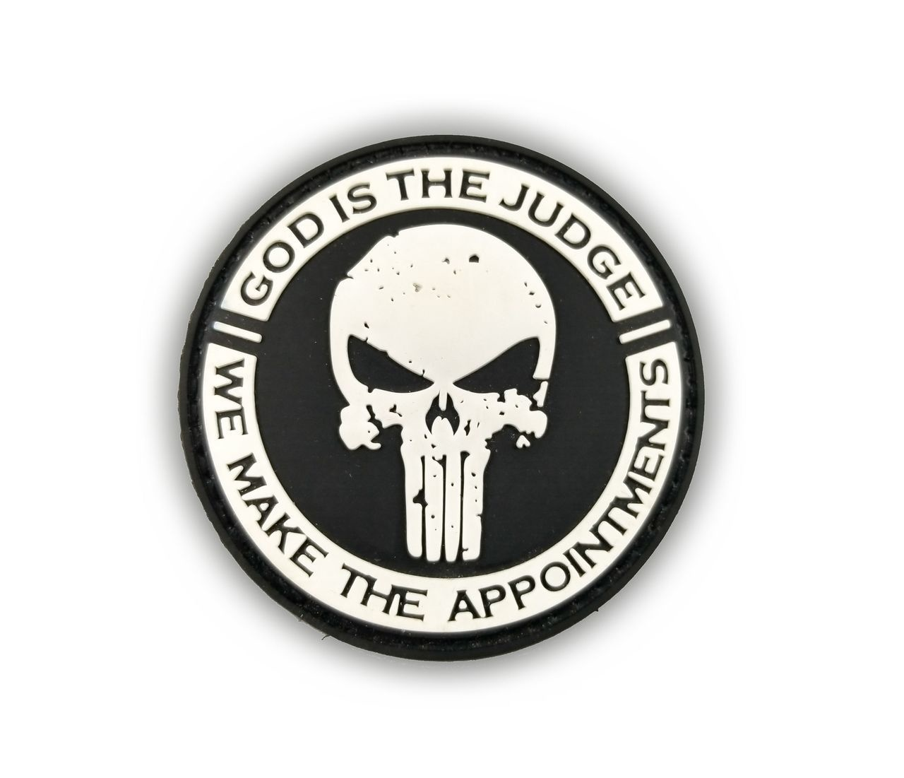 Tactical Innovations Canada PVC Patch - God is the Judge - Black/White
