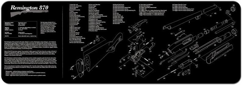 TekMat Firearms Cleaning Mat Remington 870 Diagram (12x36)