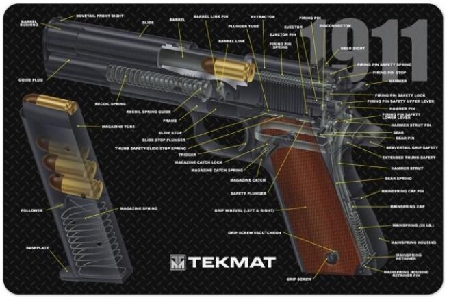 TekMat Firearms Cleaning Mat 1911 Diagram (11x17)