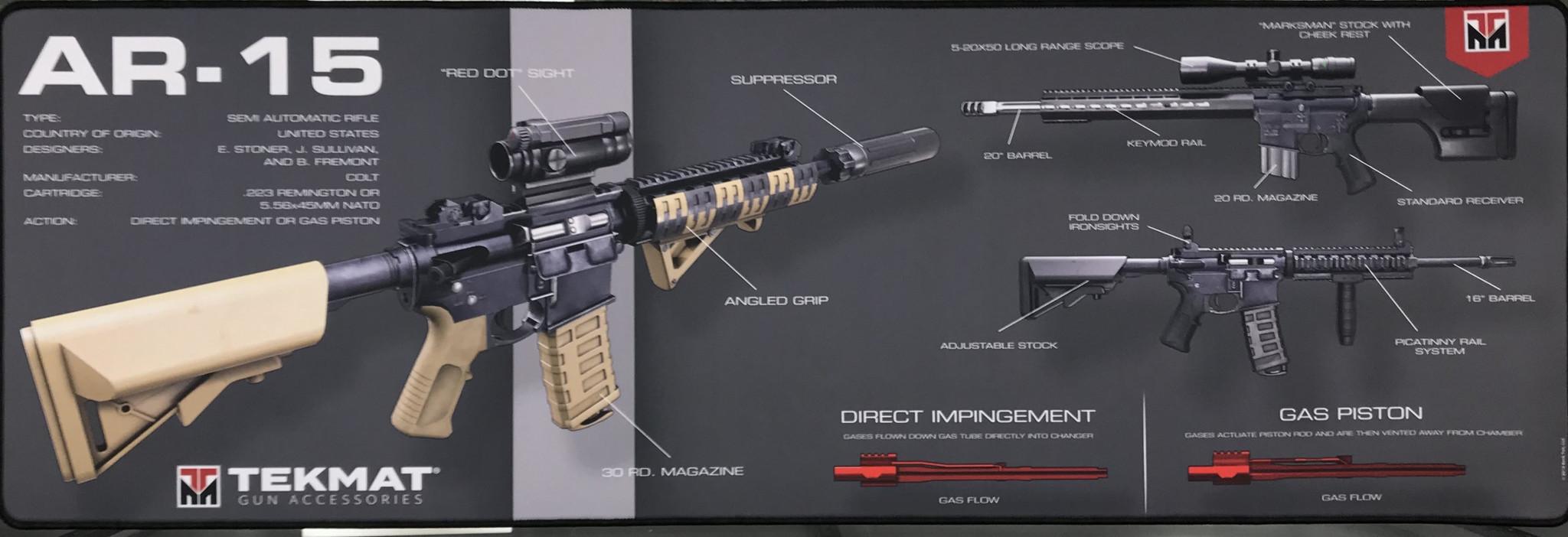 TekMat Firearms Cleaning Mat AR15 Diagram (14x44)