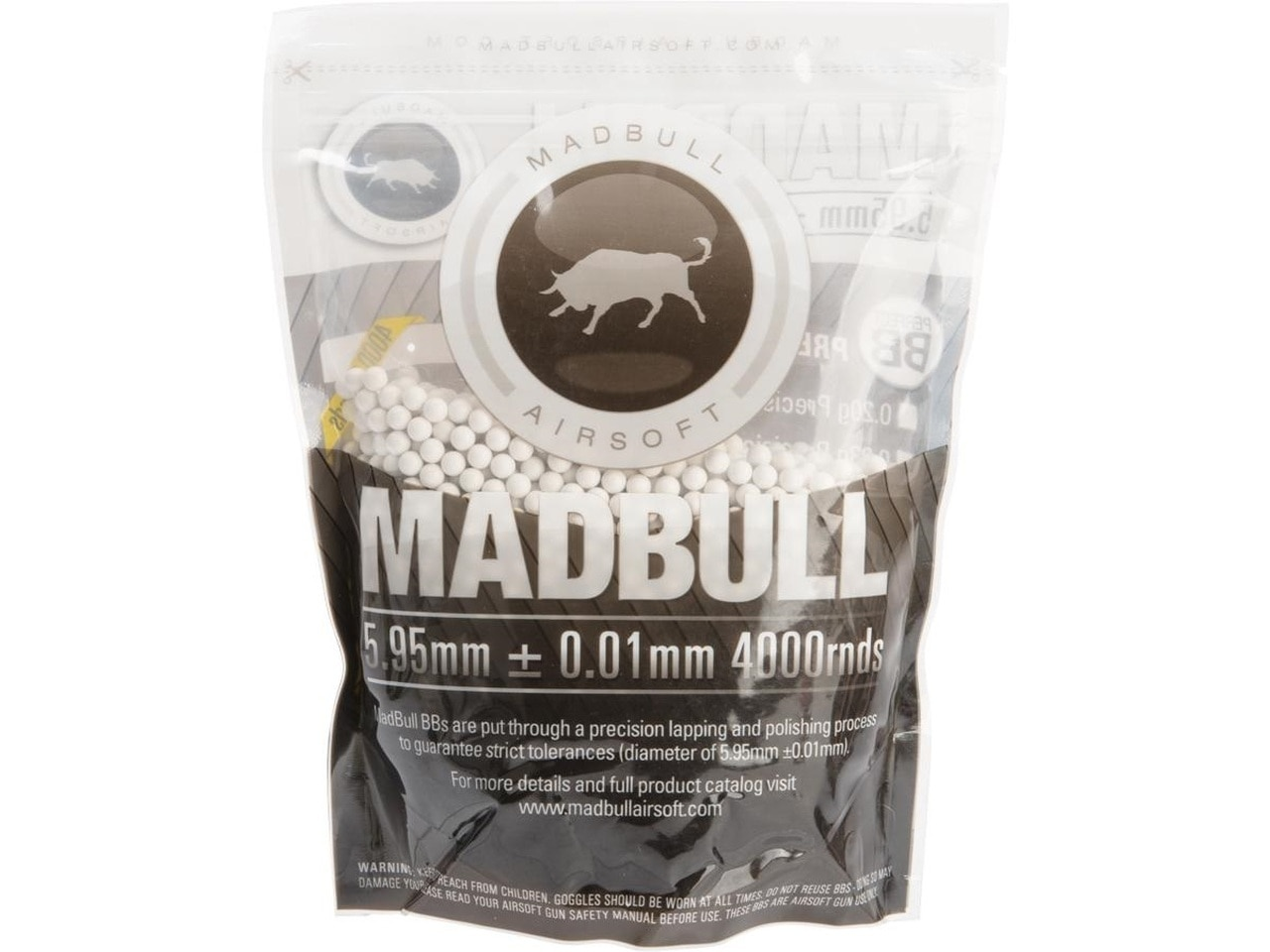 Madbull Premium Match Grade 6mm PLA Biodegradable Airsoft BB (.28g White / 4000rd Bag)