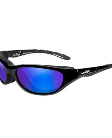 AirRage Shooting Glasses with Polarized Blue Mirror Lens and Gloss Black Frame